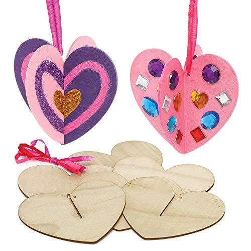 Baker Ross AX684 Herz Dekorationen Bastelset - 6er Packung, Holz Basteln und Dekorieren für Kinder