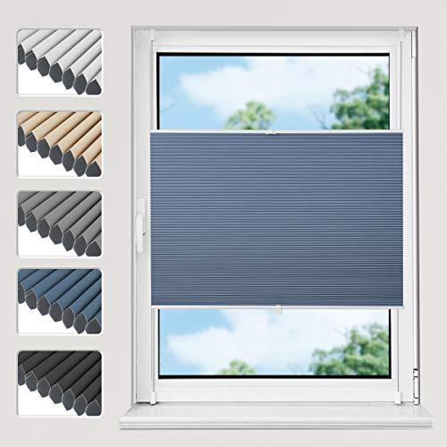 Wabenplissee, Plissee ohne Bohren Doppelplissee verdunklung, 90 x 160 cm Blau-Weiß zweifarbig, Klemmfix mit Klemmträger, Thermoplissee mit eingebauter Aluminiumfolie, Blickdicht Sonnenschutz