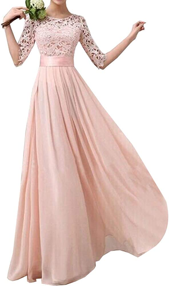 Lrady Women's Lace Chiffon A-line Long Maxi Dress Evening Wedding Bridesmaid Dress