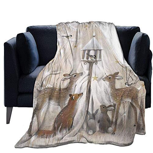 Blanket Sleeping Fleece Throw Christmas Moose Print Ultra-Soft Light Weight Cozy Warm Fluffy Plush Microfiber