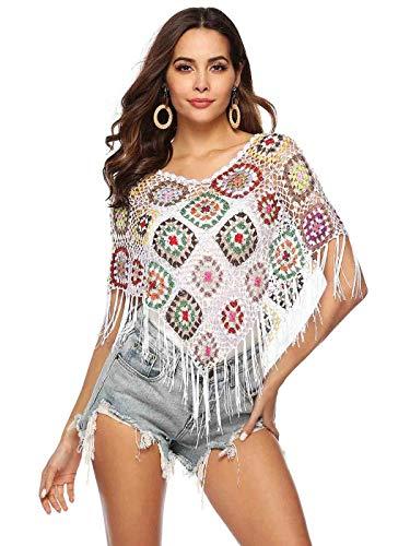 Sethain Femmes Crochet plage Bikini Des dissimulations Noir Châle triangle Chemisiers en maille Frange transparente Hauts courts pour maillots de bain (blanc)