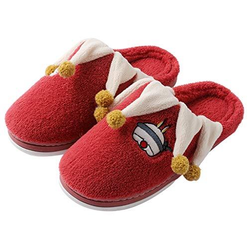 YWSZJ Zapatillas De Casa De Felpa Cálidas para Interior De Mujer, Zapatillas De Moda Antideslizantes Suaves para Amantes, Zapatos De Invierno para Mujer, Toboganes para Mujer