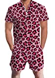 Men's Rompers Male Zipper Jumpsuit Shorts Pink Red...