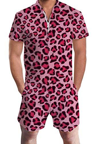 Men's Rompers Male Zipper Jumpsuit Shorts Pink Red Leopard Zebra One Piece Romper Slim Fit Bro Short Sleeve Shirt Outfits