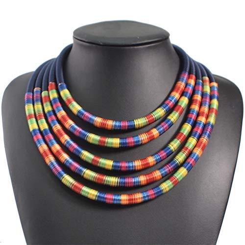AMTBBK 6 Colores Multicapas Gargantillas Collares Mujeres Joyas Grandes Maxi Collar Magnetismo Declaración Botón,Azul