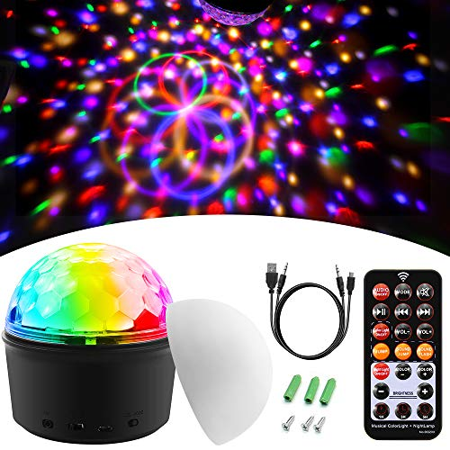 ALITOVE Disco Ball Lights Night Lights,Bluetooth Speaker Disco Color Lights,USB Powered & Sound Activated & Remote Control DJ Stage Lighting for Home Xmas Party KTV Wedding Show (Non-Rechargeable)