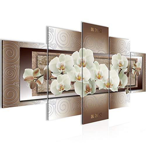 Runa Art - Cuadro Flores Orquídea 200 x 100 cm 5 Piezas XXL Decoracion de Pared Diseño Beige Marrón 205451c