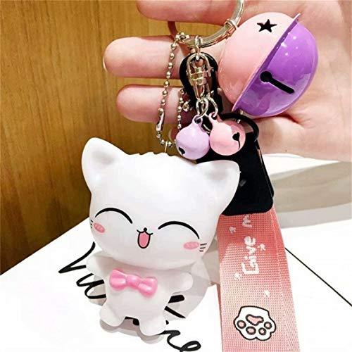 Tmrow Cartoon Panda Car Keychain, Creative Woven Rope Key Chain Bag Keyring Pendant Accessory Bag Charm Bell Best Birthday Gift for Men and Women