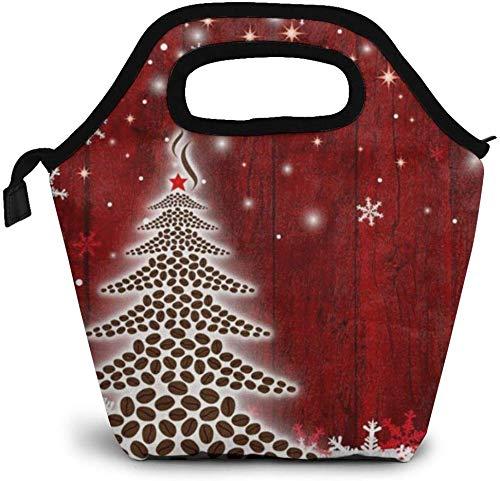 Bolsa de asas para el almuerzo, árbol de Navidad, copo de nieve, enfriador con aislamiento, bolsa térmica reutilizable, lonchera, bolso portátil para hombres, mujeres, oficina, picnic, viaje, bolsa p