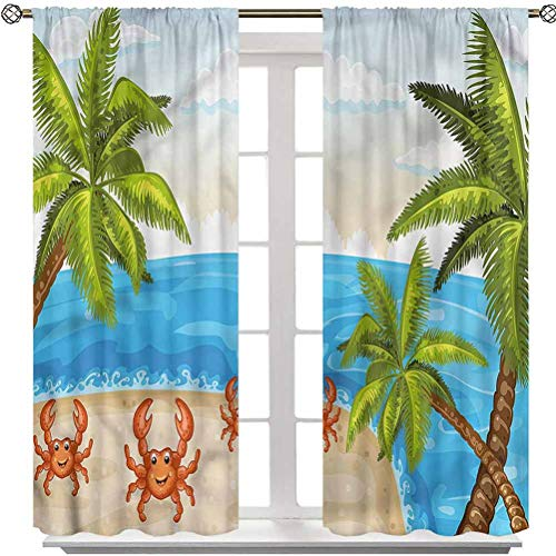 YUAZHOQI Crabs Drapes for Living Room, Palm Trees and Crabs, Set of 2 Panels 42 x 63 Inches Rod Pocket Curtains for French Doors