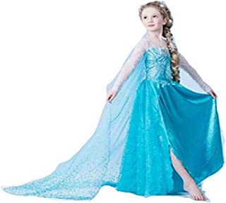 Frozen Princess Elsa Dress Little Girl's Dress Outfit Party Dress Cosplay Costume Sequins Embrodery Mesh Dress (7-8 Years)