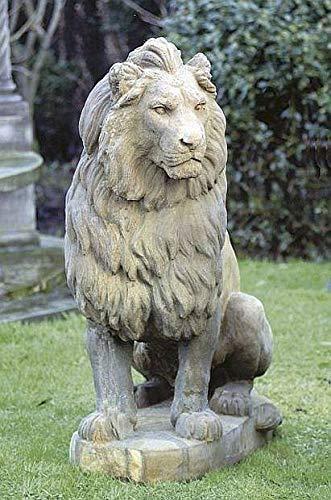 pompidu-living Löwe sitzend Stone Lion Gartenfigur Steinfigur Steintier H 136 B 105 T 55 Farbe Sandstein