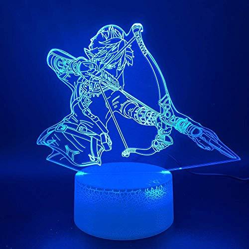 Lámpara de ilusión 3D, juego de luz nocturna, la leyenda de Zelda Link Home Luminary, regalo de cumpleaños para niños, dormitorio, lámpara de mesa