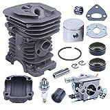 Adefol 38 mm Cilindro Pistón Kit Carburador para Husqvarna 136 137 141 142 Motosierra 530071345 530071987 con Ingesta Sello de Aceite