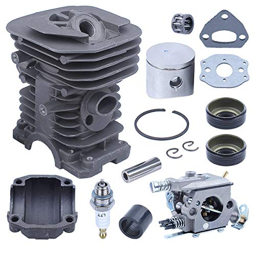 Adefol 38 mm Cilindro Pistón Kit Carburador para Husqvarna 136, 137, 141, 142, 530071345, 530071987 Motosierra con Ingesta Sello de Aceite