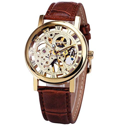 Relojes unisex con mecánica en oro, moderno, para hombre de Caluxe, esqueleto de la esfera con manillas luminosas