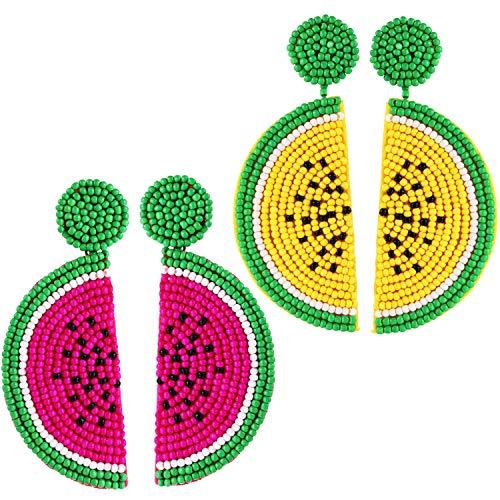 2 pares de aretes colgantes con forma de sandía de fruta, con cuentas de semilla bohemia hechas a mano, pendientes colgantes para mujeres y niñas