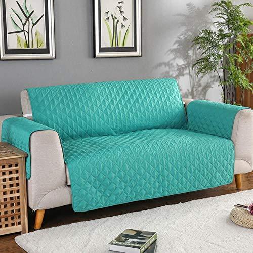 EMOHKCAB Sofa bank hoes hond kinderen mat meubels beschermer omkeerbare verwijderbare armsteun kussenovertrekken voor 1/2/3 zits banken woonkamer, mintgroen 04,55x196cm