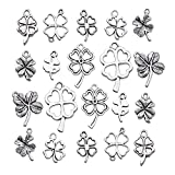 iloveDIYbeads 80pcs Craft Supplies Antique Silver Four Leaf Clover Charms Pendants for Crafting, Jewelry Findings Making Accessory for DIY Necklace Bracelet (M191)
