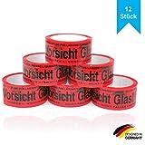 Paketband Vorsicht Glas zerbrechlich 5cm x 66m in rot - Vorsicht Glas Paketband extra stark - Klebeband mehrsprachig für fragile