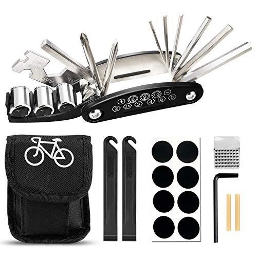 FRECOO Fahrrad Multitool, Fahrrad Werkzeug Tool 16-in-1-Multifunktions Fahrrad Werkzeug Reparaturset für Fahrrad Reparatur, Werkzeugset Fahrrad mit Reifenheber, Selbstklebendes Fahrradflicken usw