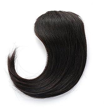 Rosette Hair 100% Human Hair Side-Swept Clip in Hair Bangs - Easy Clip on Hair Extensions Weave Unprocessed Hair Weft  Black