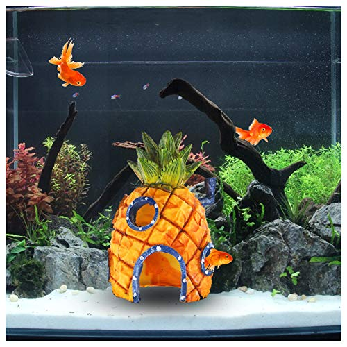 FuninCrea Décorations pour Aquarium, Ornement Aquarium de Maison Ananas de Résine Accessoires de Réservoir de Poissons