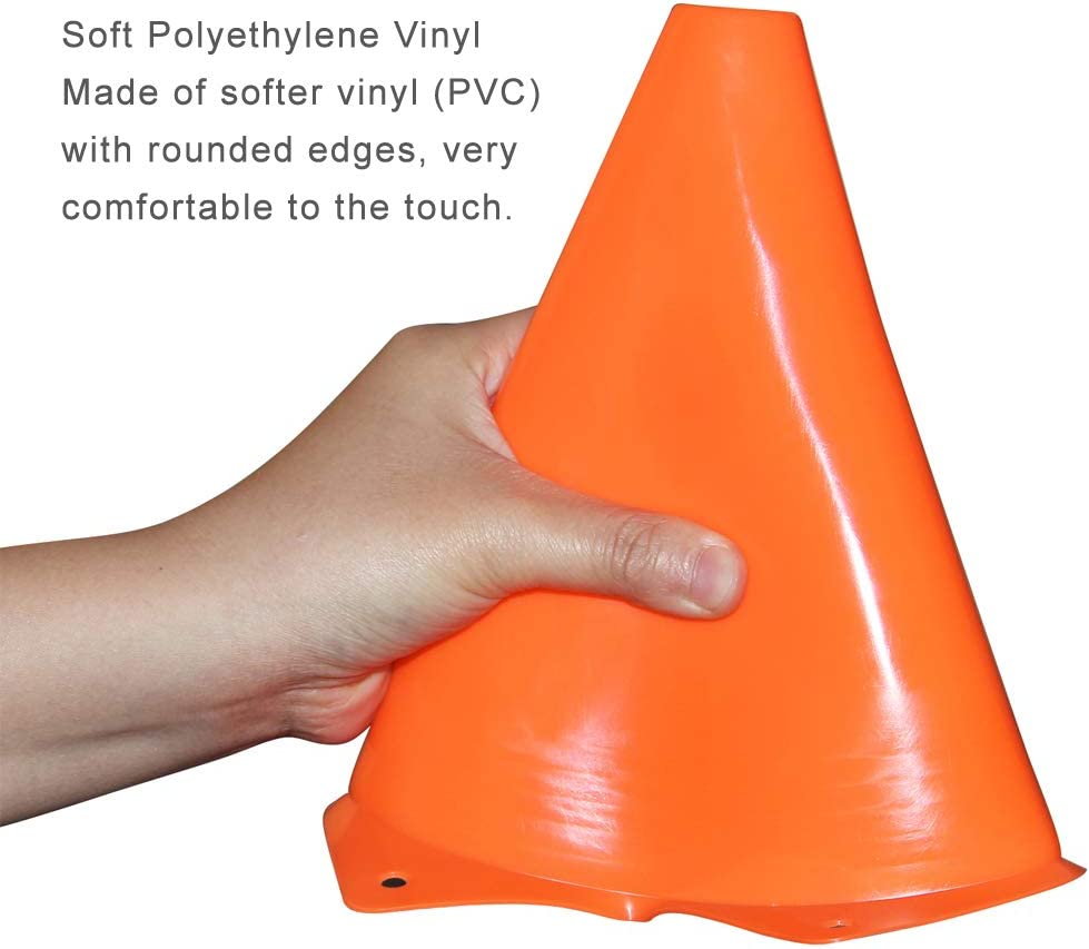9 Inch Sports Cones, Basketball Cones, Traffic Training Cones, Agility Field Marker Cones for Soccer Football Drills Training, Outdoor Activity or Events - Set of 10, Orange : Sports & Outdoors