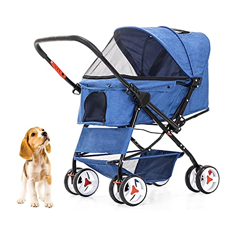 Dog Stroller with Reversible Handle Folding Pet Stroller for Dogs/Cats with 4 Wheels Puppy Stroller for Small or Medium Animal Travel Carriage with Suspension System