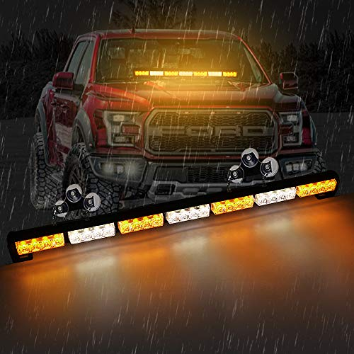 "HDYD Amber Truck Light 31"" 28 LED Traffic Advisor Emergency Hazard Warning Strobe Light Bar For Truck Brackets(Amber White)"