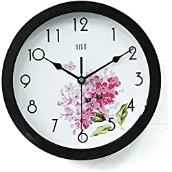 hito Silent Floral Wall Clock Non Ticking 10 inch Excellent Accurate Sweep Movement Glass Cover, Decorative for Kitchen, Living Room, Bathroom, Bedroom, Office (Cherry Blossom Black)