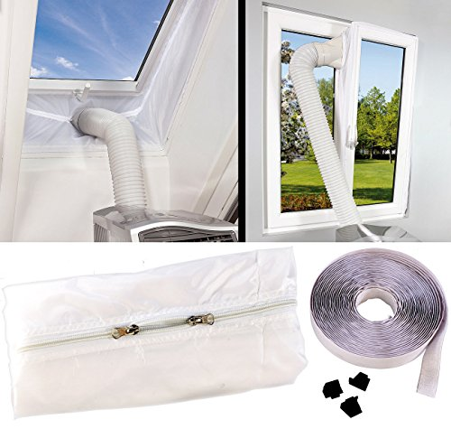 Sichler Haushaltsgeräte Klima Fensterabdichtung: Abluft Fensterabdichtung für mobile Klimageräte, Hot Air Stop (Fensterabdichtung Klimaanlage)