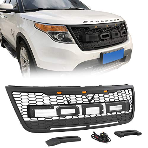 VZ4X4 Raptor Style Grill Mesh Grille, Compatible with Ford Explorer 2012-2015 (Matte Black)