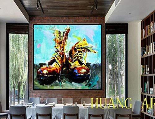 yiyiyaya Stillleben Reine Hand Ölgemälde Turnschuhe Militärstiefel Clown Schuhe abstrakte Impressionist Malerei Eingangshalle hängen hall-60x60CM_A