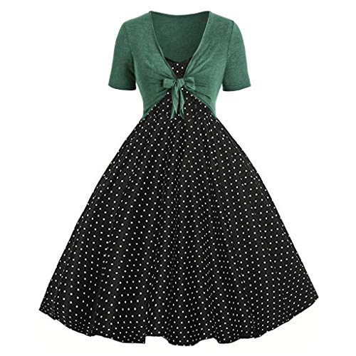 Maxi Dress nikunLONG Women Summer Fresh Wave Point Print Dress Sling Pullover Two Piece Set Casual Party Long Dress Green