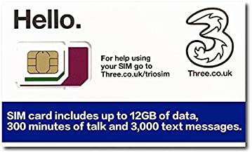 Three UK Prepaid Europe SIM with up to 12GB data for 42 countries for 30 days
