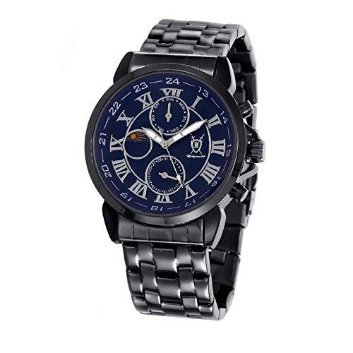 Konigswerk Mens Watch Black Bracelet Blue Dial Roman Numerals Day Date Sun Moon Display AQ202465-1G