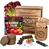 Indoor Garden Vegetable Seed Starter Kit - Rainbow Salad Grow Kit, Non GMO Heirloom Seeds for Planting, Wood Planter Box, Soil, Pots, Plant Markers, DIY Home Gardening Gifts for Plant Lovers