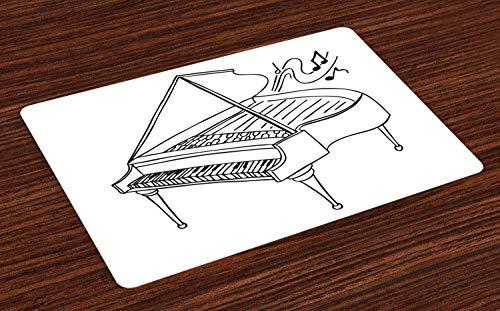 ABAKUHAUS Muzieknoot Placemat Set van 4, Monochrome Piano Drawing, Wasbare Stoffen Placemat voor Eettafel, Grijs en Witte Houtskool
