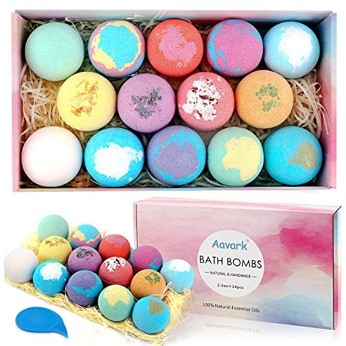 Bath Bombs, Aavark 14Pcs Bath Bombs Gift Set with Organic Natural Essential Oils, Sea Salt, Shea...