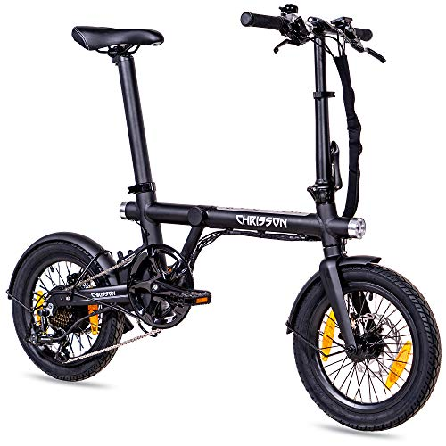 CHRISSON 16 Zoll E-Bike Klapprad ERTOS 16 schwarz-matt - E-Faltrad mit Hinterrad Nabenmotor 250W, 36V, 30 Nm, Pedelec Faltrad mit Schutzblechen für Damen und Herren, praktisches Elektro Klapprad