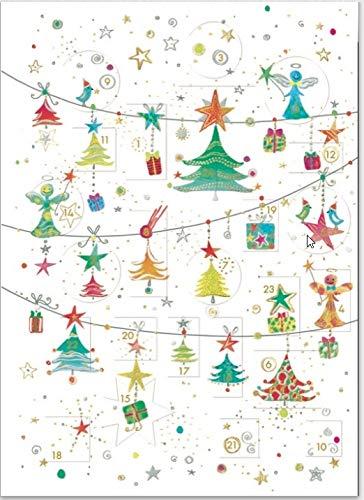 Adventskalender Karte mit Türchen - schöne Grußkarte mit Umschlag, für die Adventszeit und zu Weihnachten (kleine Tannenbäume)