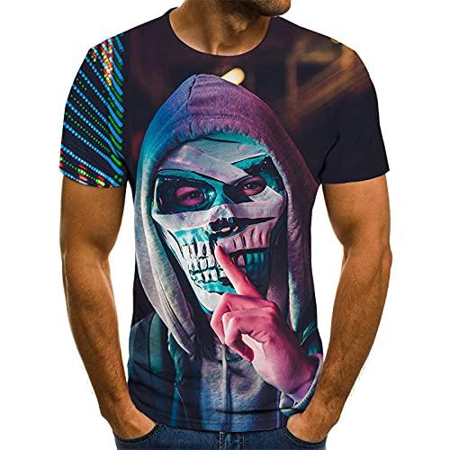 RITIOA 3D Kurzarm T-Shirt Schrecklicher Tod 3D Tshirt Herren Gedruckt Tops Rundhals Interessant Strand Freizeit Bluse Sommer Clothing -T11-XXL