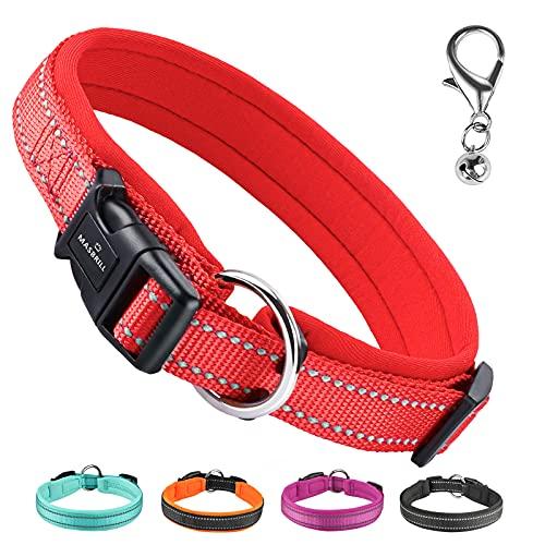 MASBRILL Hundehalsband Reflektierend Verstellbare Nylon Hunde Halsband mit Weich Neopren Gepolstert Atmungsaktives Halsband für Welpen Kleine Mittel Große Hunde(Rot, L)