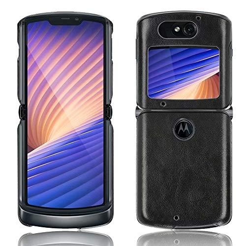 Ranyi Motorola Razr 5G Hülle, Motorola Razr 5G Lederhülle, ultra dünne Lederhülle, stoßdämpfend, R&umschutz, flexible Lederhülle, für Motorola Razr 5G 15,7 cm (6,2 Zoll) (2020), Schwarz