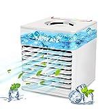 Mobile Klimageräte Mini Luftkühler,Mini Air Cooler,4 In 1 Persönlicher Luftkühler,Luftbefeuchter Wasserkühlung Ventilator mit Nachtlicht,3 Geschwindigkeiten,7 LED Luftkühler Klein für hause und Büro