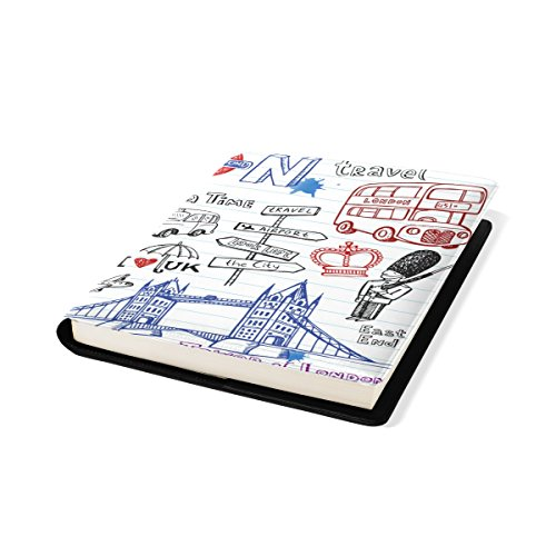 COOSUN London Doodles Book Cover Sox Stretchable Livre, La Plupart des Fits Relié jusqu'à 9 manuels x 11. adhésif Libre, école Cuir PU Livre Protector 9 x 11 Pouces Multicolore