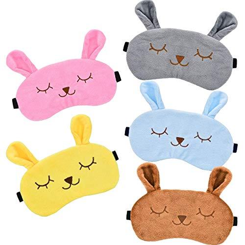 Huangjiaju 5 Piezas de Antifaz para Dormir de Animales, Antifaz de Conejo, Antifaz de Piel para niños y Adultos en 5 Colores