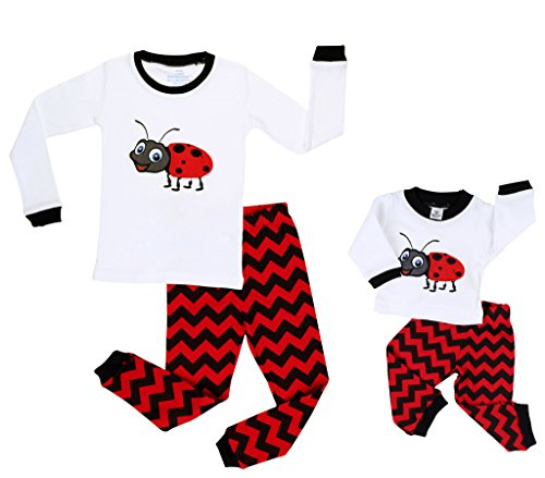 elowel | Schlafanzug | Passende Pyjamas für Mädchen und Puppen | 2-Teilig | Enganliegend | 100% Baumwolle | Bequem, Weich | Größe: Kind: 2 Jahre (92) (Puppe: ca.45 cm) | Design: Maikäfer