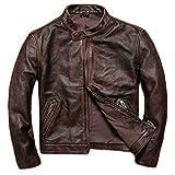 Veste Moto Noir en Cuir véritable pour Hommes Hommes Gris Blouson Moto Racing Manteau Biker Trench Slim-Fit Red Coat,Red-XXXXL